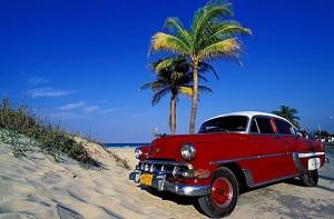 Santa Maria del Mar, American red car, the beach of the East -Havana, Cuba, Central America
